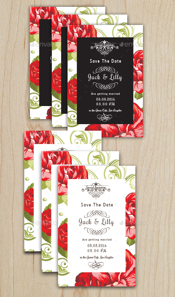 Floral Wedding Card 3 - Cards & Invites Print Templates