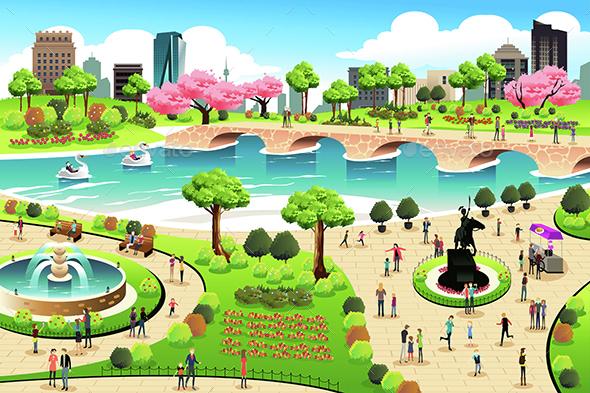People Visiting a Public Park - Nature Conceptual