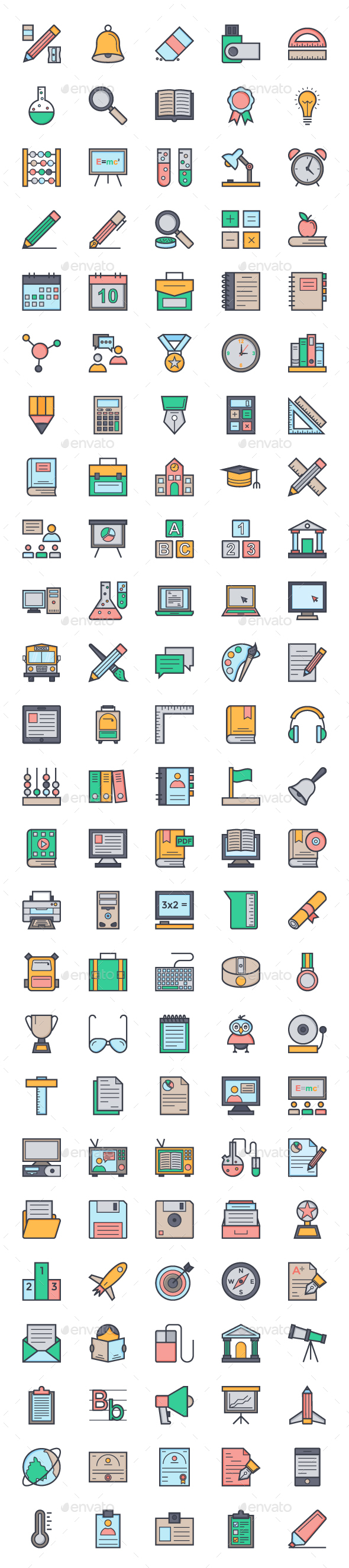 125 Flat Education Icons - Icons