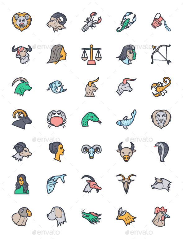 Flat Zodiac Signs Icons - Icons