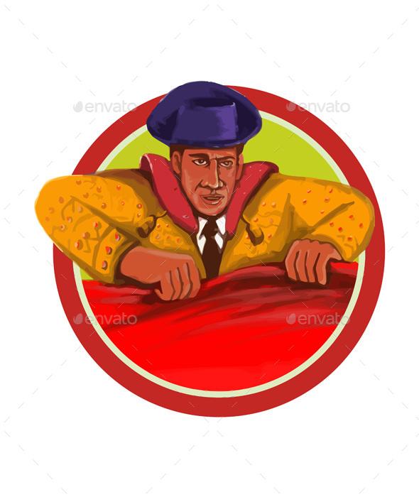 Matador Cape Front Circle Watercolor - People Characters