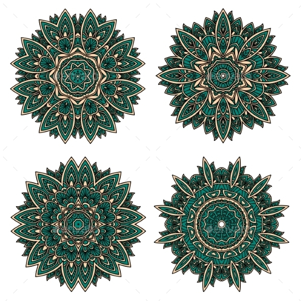 Circular Floral Patterns Of Emerald Lace Flowers - Patterns Decorative