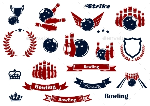 Bowling Sport Items And Design Elements - Sports/Activity Conceptual