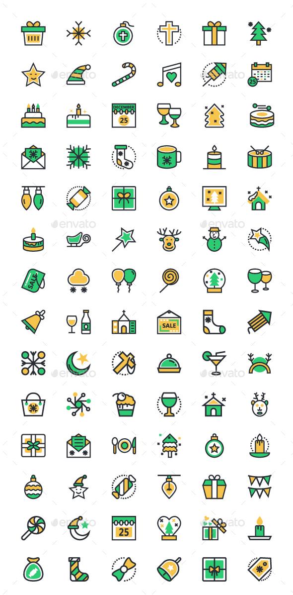 80+ Merry Christmas Vector Icons - Seasonal Icons