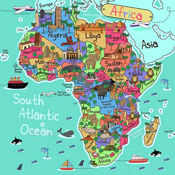 Africa Map - Travel Conceptual