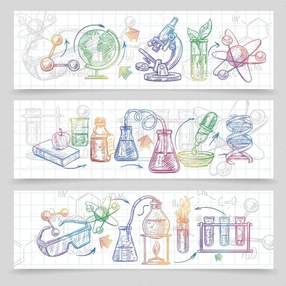 Chemistry Banners Set - Objects Vectors