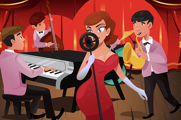 Jazz Band with a Female Singer - People Characters