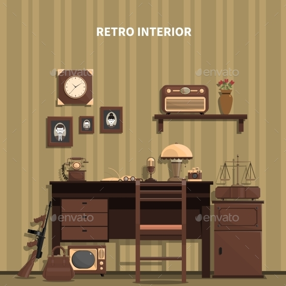 Retro Interior Illustration  - Man-made Objects Objects