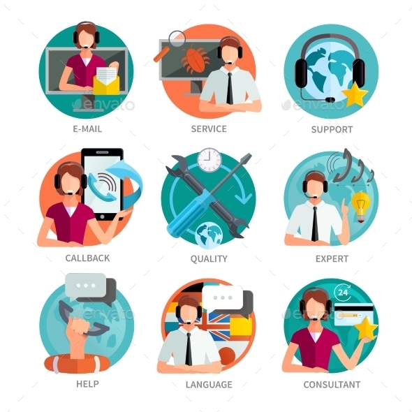 Customer Support Design Emblems Set - Communications Technology