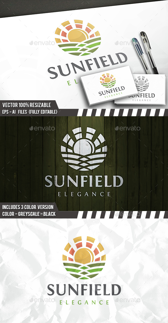 Sun Field Logo - Nature Logo Templates