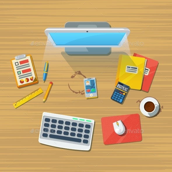 Work Place Office Flat Icon Print - Backgrounds Business