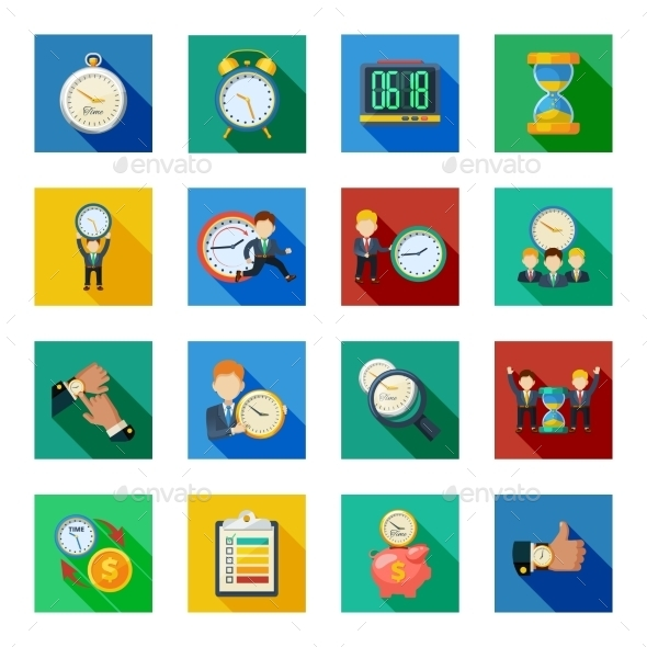 Time Management Flat Shadow Icons Set - Business Icons