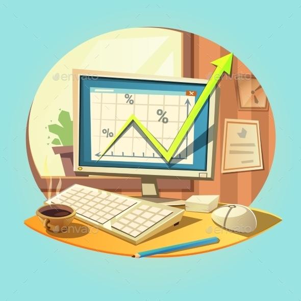 Business Retro Cartoon - Business Conceptual