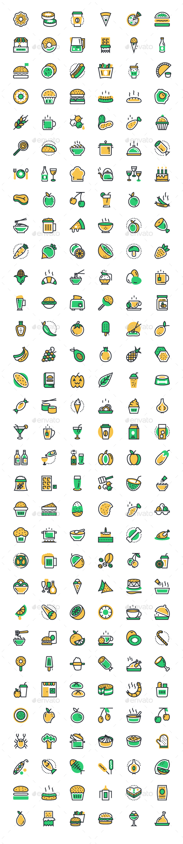 175+ Food and Drinks Icons Set - Food Objects