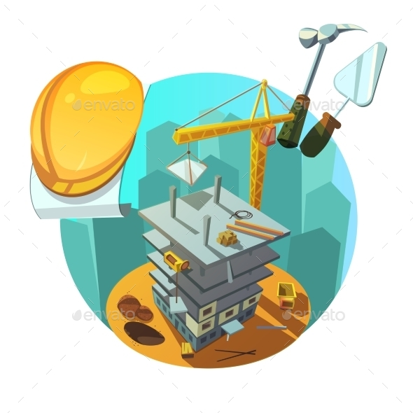 Construction Retro Cartoon - Buildings Objects