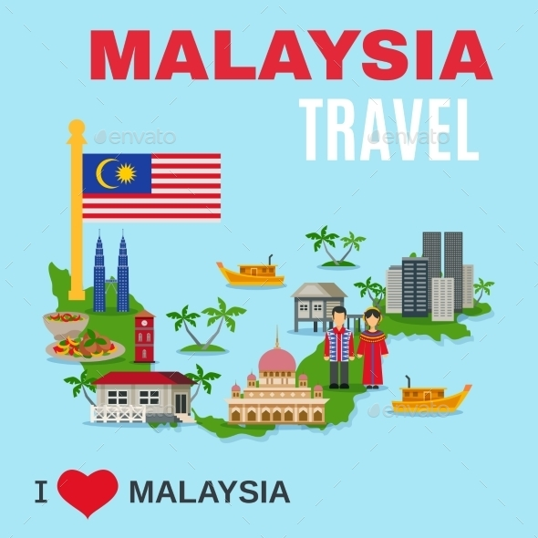 Malaysia Culture Travel Agency Flat Poster - Travel Conceptual