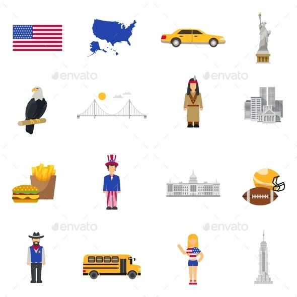 Culture Symbols  USA Flat Icons Set - Miscellaneous Icons