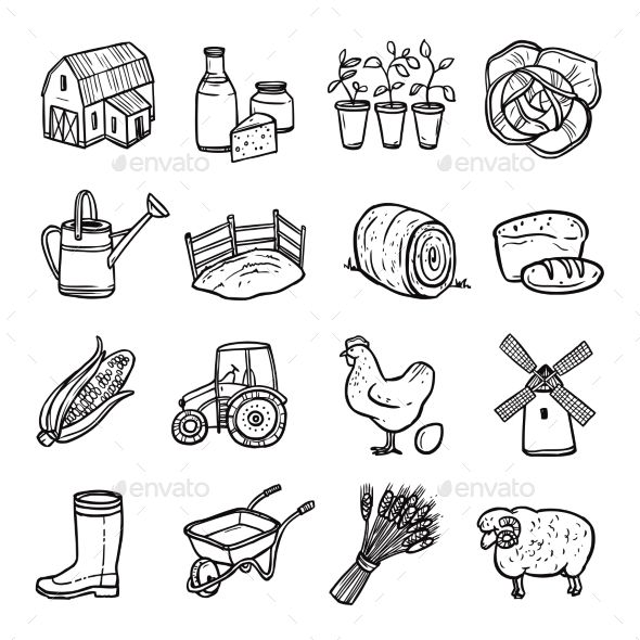 Agriculture Black White Icons Set  - Food Objects