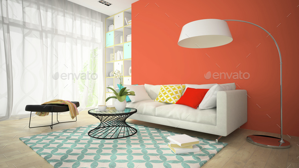 Interior of modern design room with red vase 3D rendering 4 - Stock Photo - Images