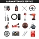 Car Maintenance Service Flat Icons Set - GraphicRiver Item for Sale