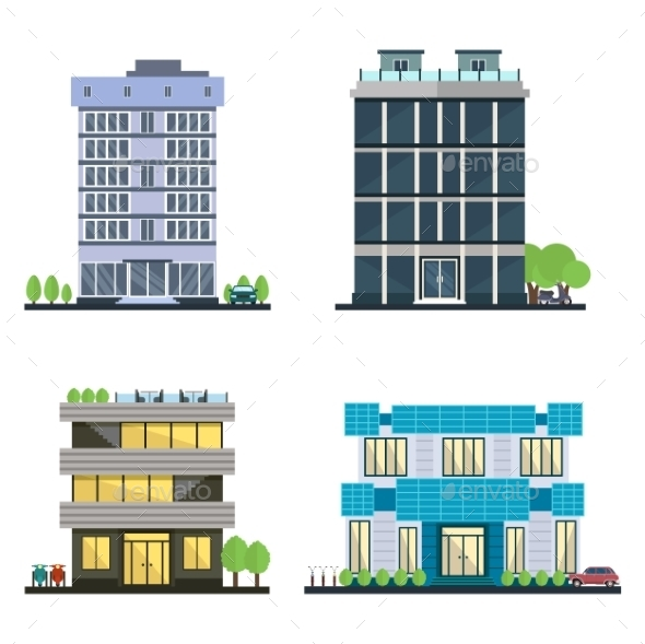 Set Of Vector Modern Business Center With Diverse - Buildings Objects