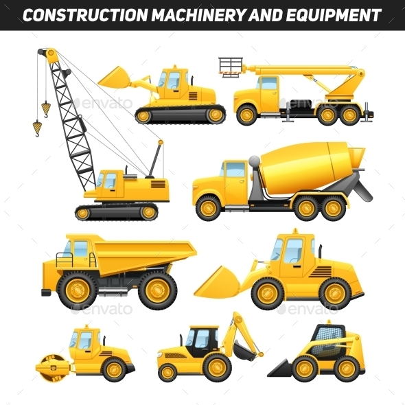 Construction Equipment Machinery Flat Icons Set  - Objects Vectors