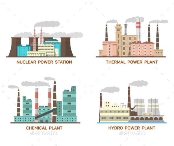 Set Of Vector Industrial Flat Illustration - Buildings Objects