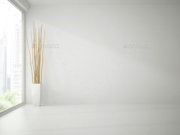 Empty clean white room with branches decor 3D rendering - Stock Photo - Images
