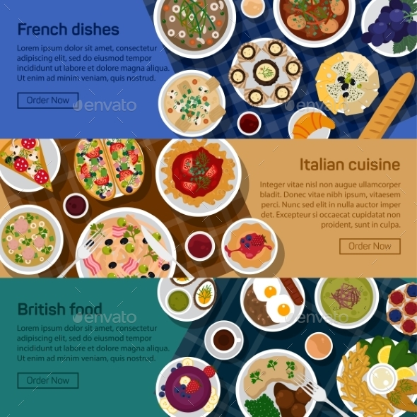 Vector Flat Illustration Banners Of Dishes - Food Objects