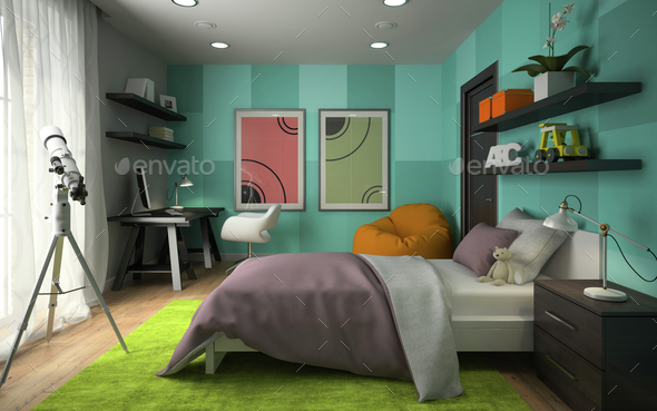 Interior of modern childroom  with blue wall 3D rendering 4 - Stock Photo - Images