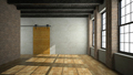 Empty loft room with wooden door 3D rendering - PhotoDune Item for Sale