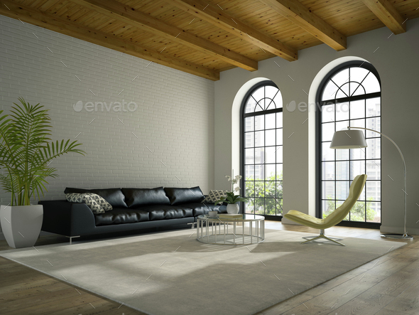 Interior of modern  design loft  with black sofa 3D rendering - Stock Photo - Images
