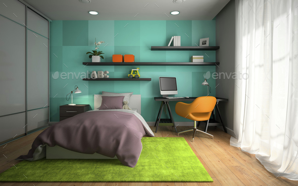 Interior of modern childroom  with blue wall 3D rendering - Stock Photo - Images