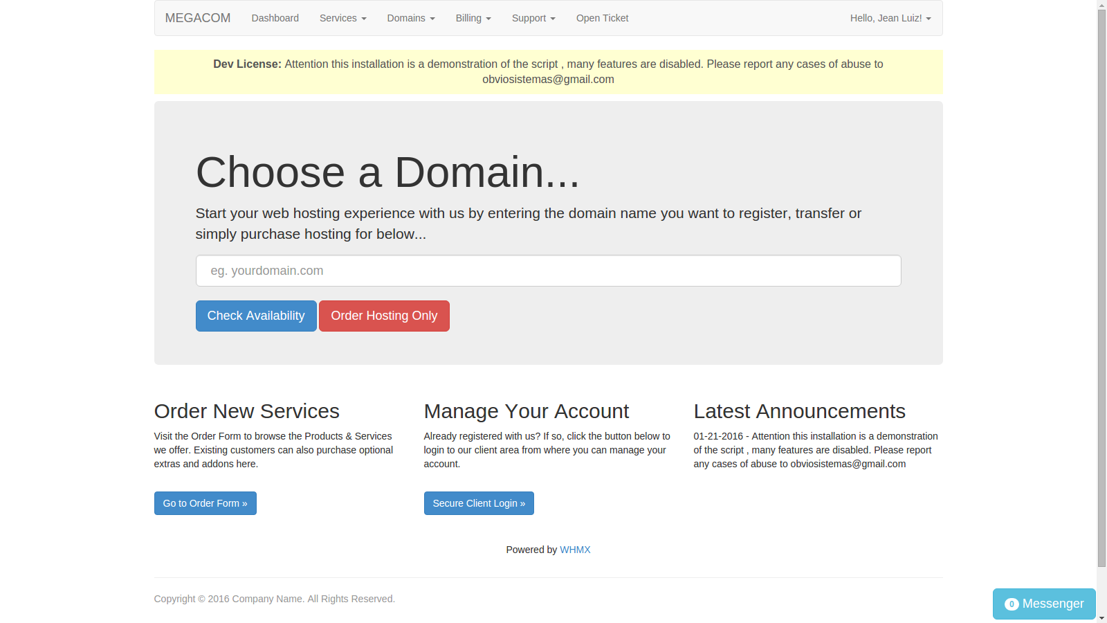 Complete register domain and billing for cPanel/WHM