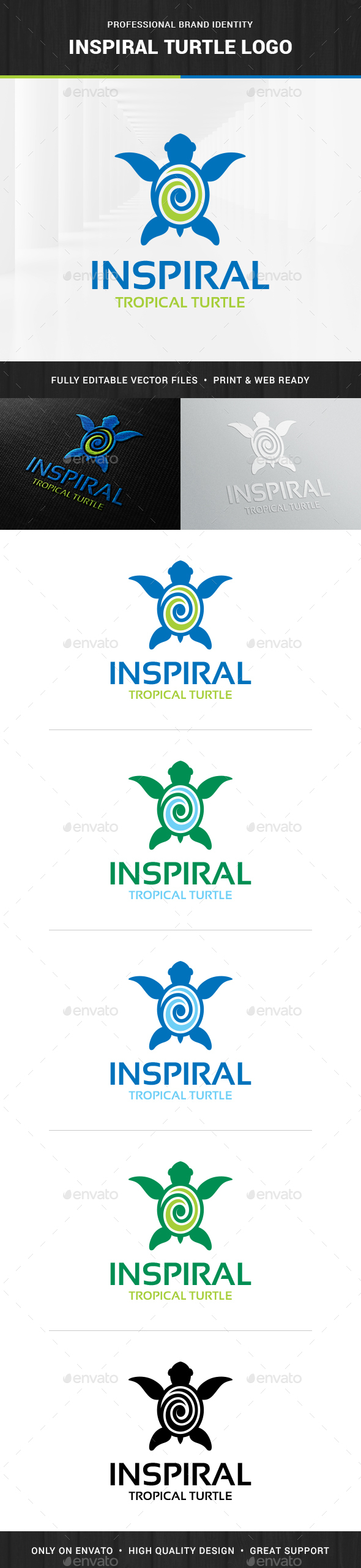 Inspiral - Turtle Logo Template - Animals Logo Templates