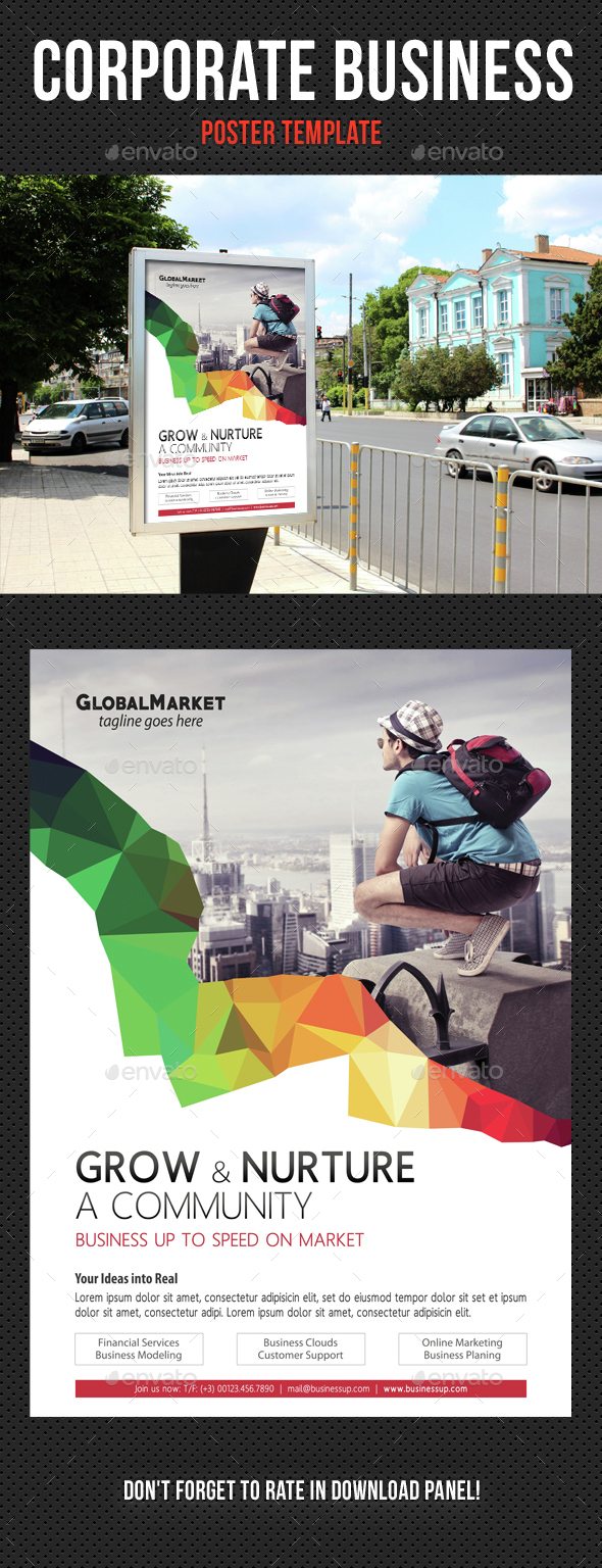 Corporate Business Poster Template V04 - Signage Print Templates