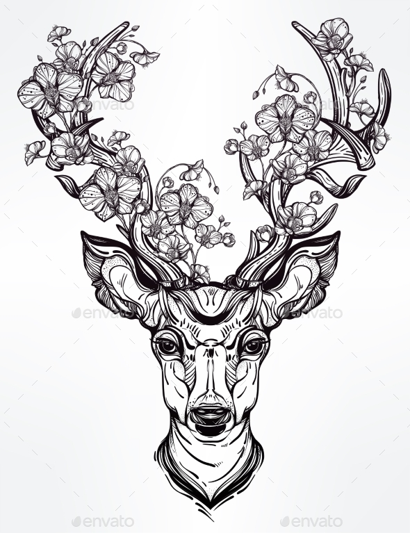 Line Drawing Your Photo : Deer head with flowers in line art style by itskatjas