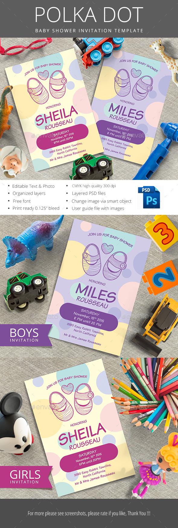 Polka Dot Baby Shower - Invitations Cards & Invites