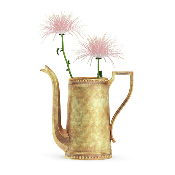Pink Flowes in Golden Teapot - 3DOcean Item for Sale