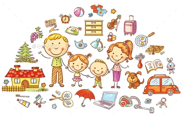 Family Life And Household Set - People Characters