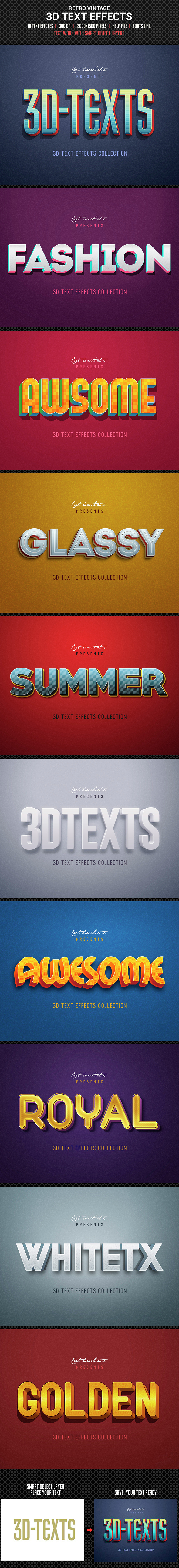 Retro Vintage 3D Text Effects - Text Effects Actions