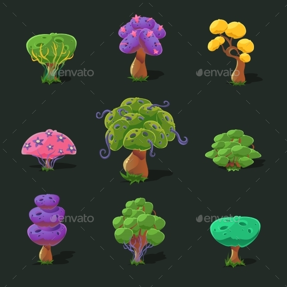 Cartoon Trees, Vector Set - Nature Conceptual