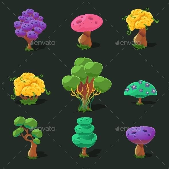 Cartoon Trees, Vector Set - Nature Conceptual