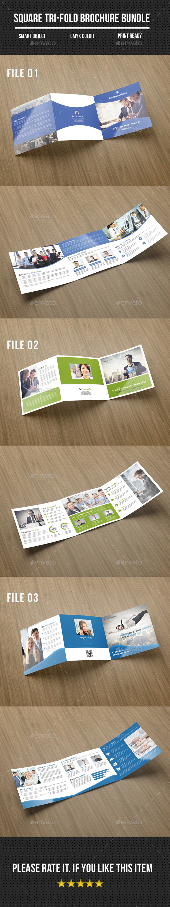 Square Tri-Fold Corporate Brochure Bundle - Corporate Brochures