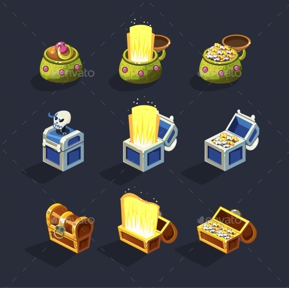 Chest Set For Game Resource. Vector  - Miscellaneous Vectors