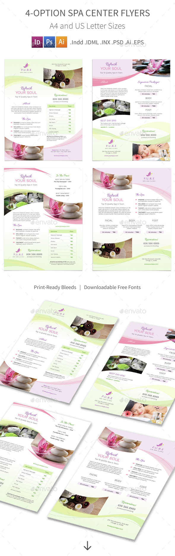 Spa Center Flyers – 4 Options - Corporate Flyers