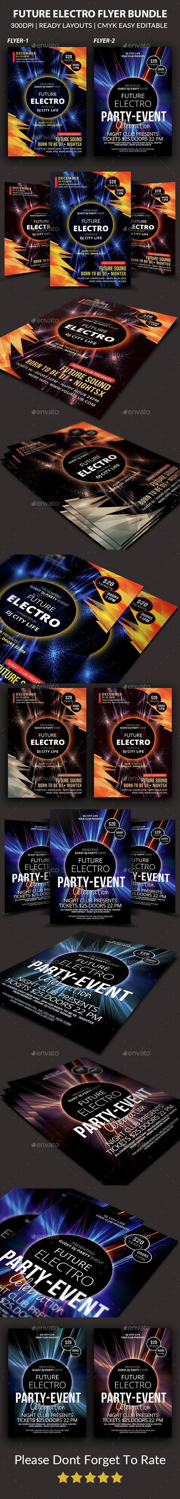 Electro Music Flyers Bundle  - Clubs & Parties Events