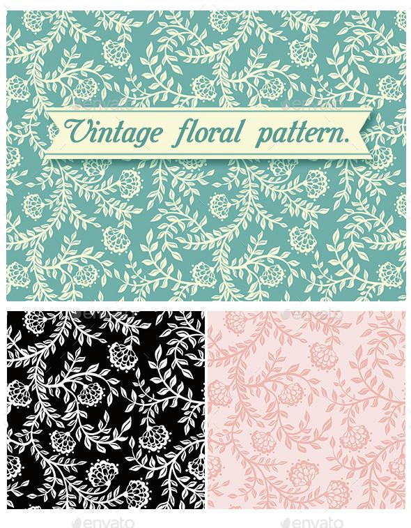Vintage Floral Seamless Pattern. Vector.  - Patterns Decorative