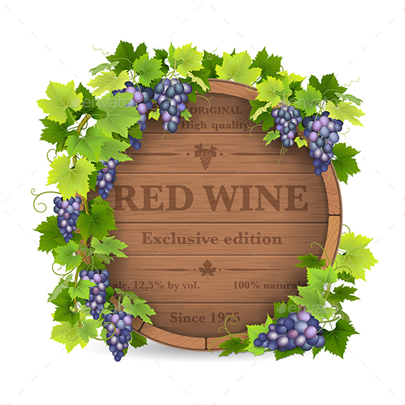Grapes and Wooden Barrel - Organic Objects Objects