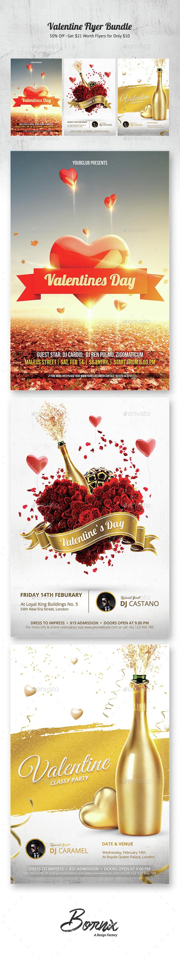 Valentine Flyer Bundle - Clubs & Parties Events
